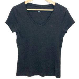 Tommy Hilfiger Black V-Neck Short Sleeve Shirt - L